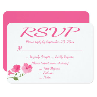 """Floral RSVP Fuchsia Pink And White Flowers Wedding 3.5"""" X 5"""" Invitation Card"""
