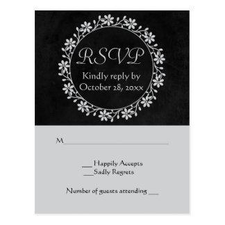 Floral RSVP Gray & Black Chalkboard Wedding Wreath Postcard