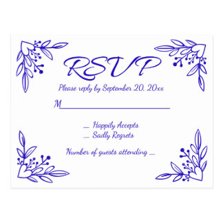 Floral RSVP Navy Blue Cobalt Wedding Flowers Postcard