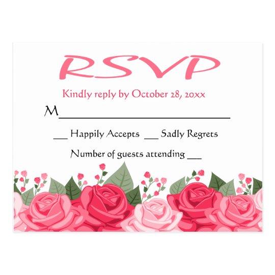 Floral RSVP Pink And White Rose Flower Wedding Postcard