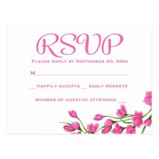 Floral RSVP Pink Fuchsia & White Flowers Wedding Postcard