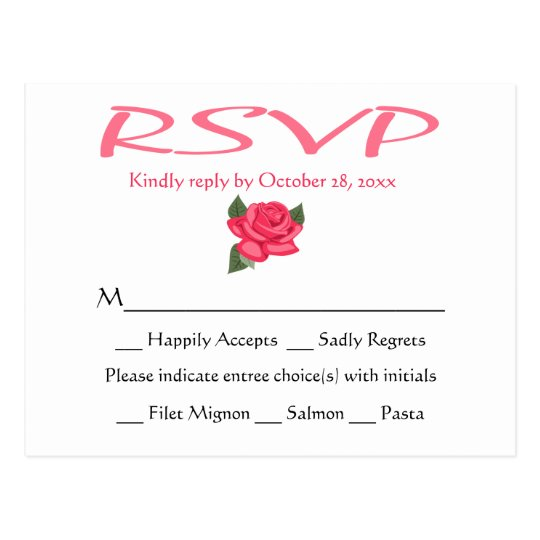 Floral RSVP Pink Rose Flower Wedding Postcard