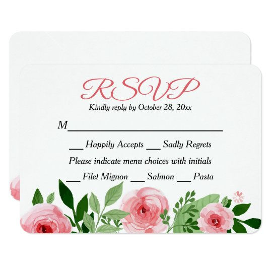 Floral RSVP Pink Rose Watercolor Flower Response Card