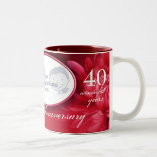 "Floral ruby anniversary ""own special photo"" mug"
