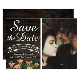 Floral Rustic Dark Wood | Modern Save the Date Card