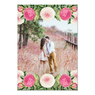 Floral rustic rose photo save the date card