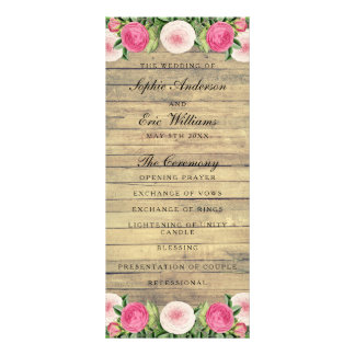 Floral rustic vintage rose wedding program rack card