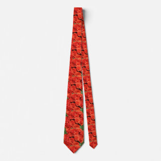 Floral Salmon Roses Flowers Tie