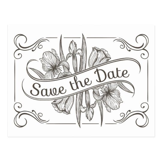 Floral Save the Date Black & White Flower Wedding Postcard