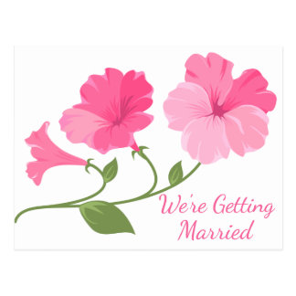 Floral Save The Date Pink Flower Engagement Postcard