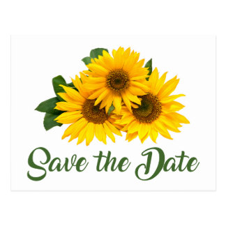 Floral Save The Date Yellow Sunflower Engagement Postcard
