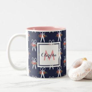 Floral Scissors - Navy Blue & Pink Monogram Two-Tone Coffee Mug