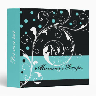 Floral scroll leaf black, aqua blue recipe binders