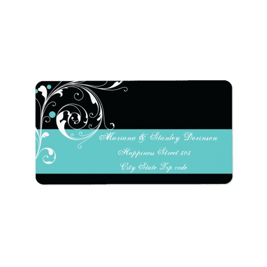 Floral scroll leaf black aqua wedding label