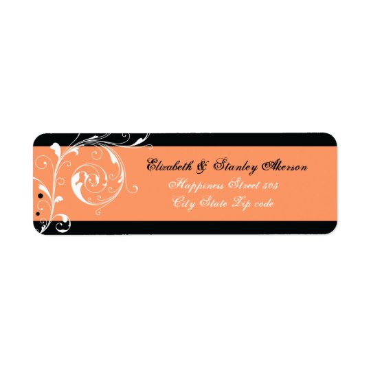 Floral scroll leaf black coral wedding return address label