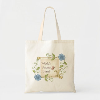 Floral Scroll Pixel Art Tote Bag