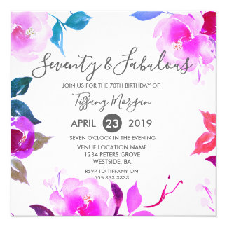 Floral Seventy & Fabulous 70th Birthday Party Card