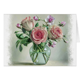 Floral Shabby Chic Pink Rose & Purple Flowers Card