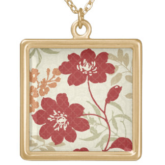 Floral Shadows in Red and Orange Gold Plated Necklace