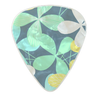Floral shapes and lines pearl celluloid guitar pick