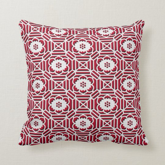 Floral Shokkoumon japanese pattern dark red Throw Pillow