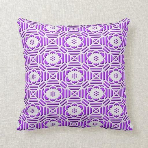 Floral Shokkoumon japanese pattern light purple Pillow