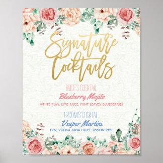Floral Signature Cocktail Drink Menu Wedding Decor