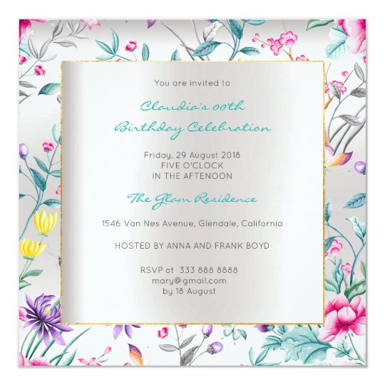 Floral Silver Butterfly Spring Chinoiserie Event Card