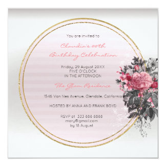 Floral Silver Frame Wreath Roses Floral Event Card