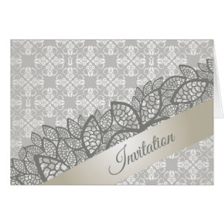 Floral silver lace banner invitation design