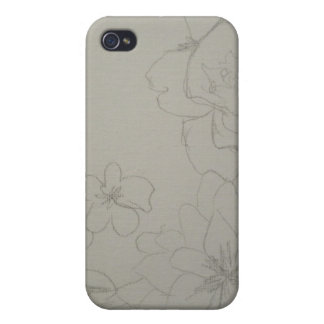 Floral Sketch Cover Cover For iPhone 4