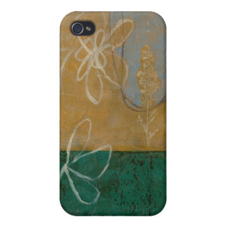 Floral Sketch with Wildflower and Plants Cover For iPhone 4