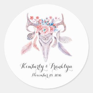 floral skull boho vintage wedding round sticker