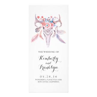 floral skull boho watercolor wedding programs
