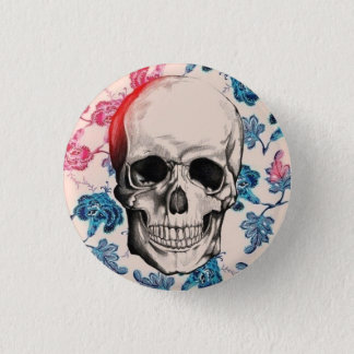 Floral Skull Button
