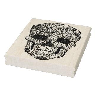 Floral Skull Doodle Rubber Stamp