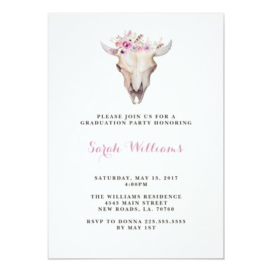 Floral Skull Graduation Invitations