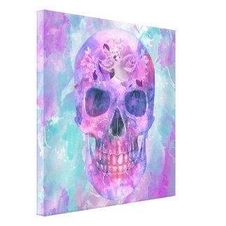Floral skull in watercolor canvas print