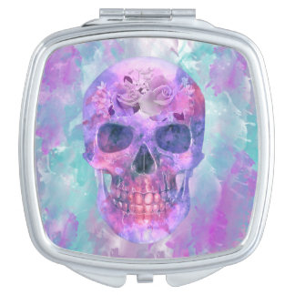 Floral skull in watercolor compact mirror