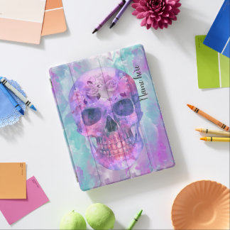 Floral skull in watercolor iPad cover