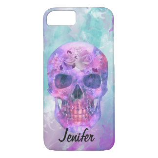 Floral skull in watercolor iPhone 8/7 case