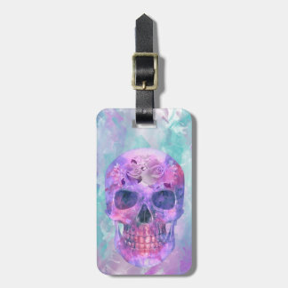 Floral skull in watercolor luggage tag