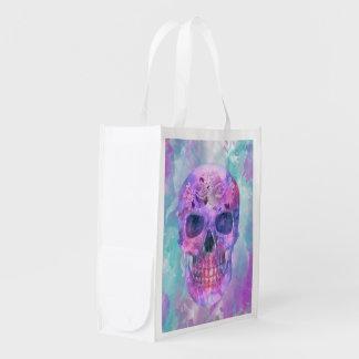 Floral skull in watercolor reusable grocery bag