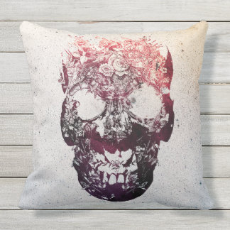 Floral Skull Outdoor Pillow