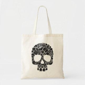Floral Skull Pattern Tote Bag