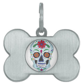 Floral Skull Pet ID Tags