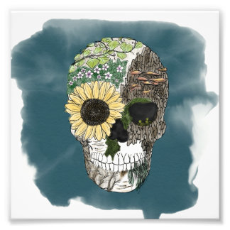 Floral Skull Poster, Hand drawn Skull Nature Art Photo Art