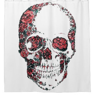 floral skull shower curtain