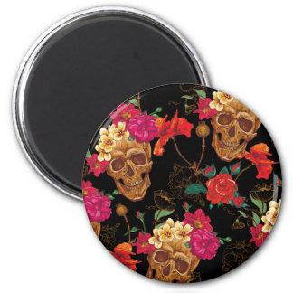 floral Skulls 2 Inch Round Magnet