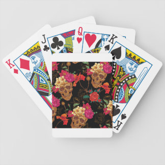 floral Skulls Bicycle Playing Cards